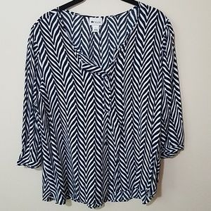 Stylus Black and White 3/4 sleeve blouse sz L